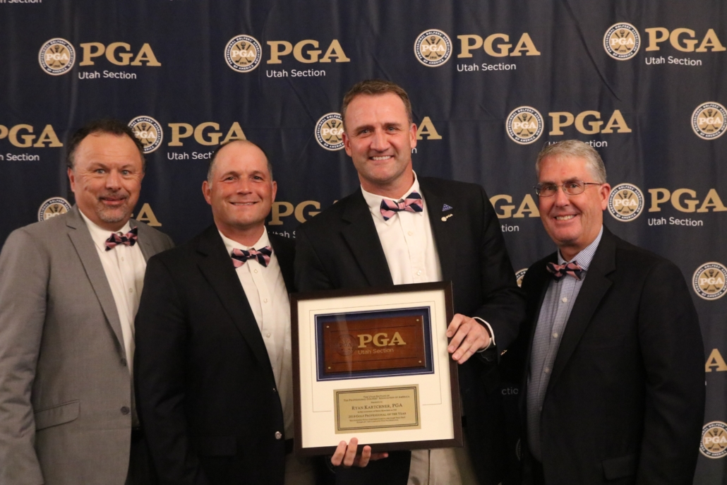 Utah Section PGA officers present Promontory Club Director of Gold Ryan Kartchner with the Professional of the Year Award/